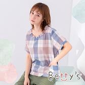 betty's貝蒂思 格紋圓領小荷葉上衣(粉藍)