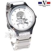 valentino coupeau 范倫鐵諾 古柏 個性 骷髏 大錶框 水晶鑽陶瓷 中性錶 夜光指針 白色 V60207-2