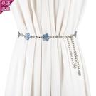 腰帶 夏季新品女士金屬腰鏈條裝飾連身裙帶...