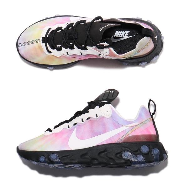 【六折特賣】Nike Wmns React Element 55 Tie Dye 彩色 白 緩震回彈 女鞋 運動鞋【ACS】 CJ6896-901