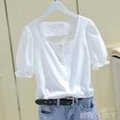 2021夏新款法式泡泡袖方領t恤短袖上衣女小眾設計感白色襯衫韓版 蘿莉新品