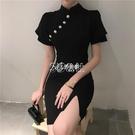 旗袍 復古風修身短袖旗袍改良連身裙女春夏新款優雅氣質包臀短裙子