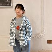 復古滿印菱格寬鬆棉紗長袖襯衫 罩衫 外套 大童 中性款 男童 女童 童裝 橘魔法 現貨 兒童