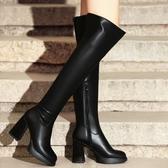 真皮過膝靴-個性騎士風魅力百搭粗跟女長靴73iv42[時尚巴黎]