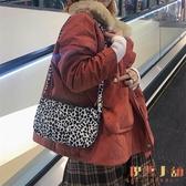 法式復古豹紋包包女腋下包手拎包側背包手提斜背包【倪醬小舖】
