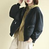 牛仔外套 拼色連帽外套 短款牛仔衛衣/4色-夢想家-0214