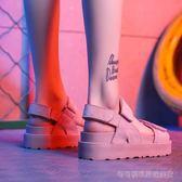 厚底涼鞋 夏季涼鞋女平底百搭韓版學生鞋鬆糕厚底魔術貼軟妹涼鞋女   Cocoa