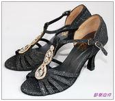節奏皮件~國標舞鞋拉丁鞋款緞面鑲鑽舞鞋編號3951 黑閃色