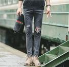 找到自己品牌 韓國 潮品 破洞拉鏈 設計小腳牛仔褲 男