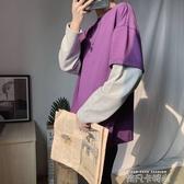 旋律風車假兩件t恤男打底長袖薄款初秋青年帥氣潮流韓版寬鬆上衣 依凡卡時尚