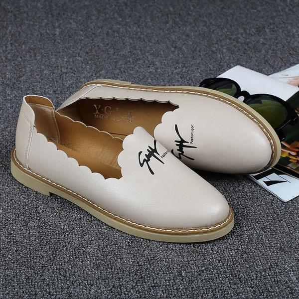 女鞋- 小皮鞋平底平跟休閒白色單鞋