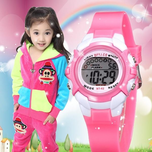 兒童手錶男孩防水夜光小學生手錶女孩韓版運動多功能電子錶女童  極有家