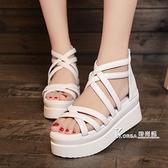 波西米亞夏季新款魚嘴涼鞋厚底楔形女鞋子韓版厚底鞋鬆糕鞋高跟鞋