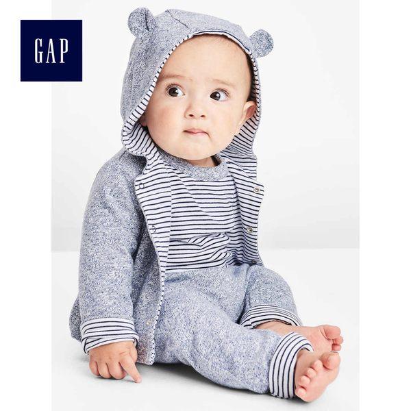 Gap男女嬰兒 布萊納小熊刺繡正反兩穿小熊造型連帽休閒外套 592524-鈷藍色