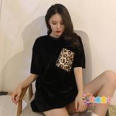大碼女裝 時尚豹紋口袋金絲絨打底衫初春女裝新款寬鬆圓領T恤短袖上衣 2色