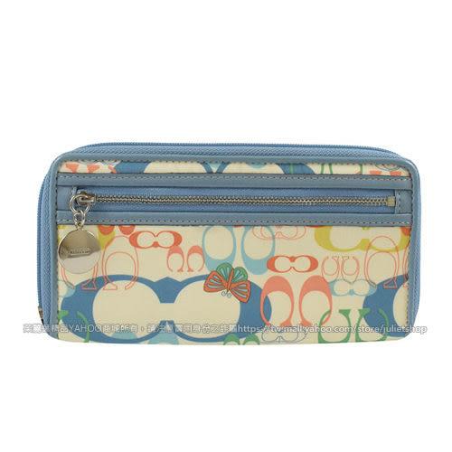 茱麗葉精品 二手名牌【9.99成新】COACH 經典LOGO緞面皮飾邊手提式長夾.白/藍