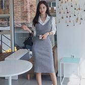 精選38折 韓版氣質襯衫修身吊帶毛衣套裝長袖裙裝