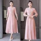 越南旗袍洋裝 茶服漢服唐裝修身2021春女裝刺繡中式上衣中國風旗袍改良版連身裙