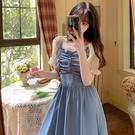 方領洋裝 大碼女裝2021年新款夏裝胖MM法式少女方領拼接褶皺長款雪紡連身裙 寶貝 免運