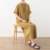 洋裝-長款寬版簡約純色繫帶亞麻女連身裙3色73sm54【巴黎精品】