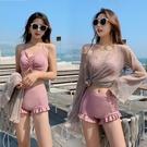 游泳衣女溫泉三件套韓國保守仙女范顯瘦遮肚小胸聚攏性感平角泳裝