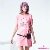 【SHOWCASE】休閒小鳥刺繡挖肩短袖長版T恤(粉)