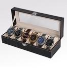 手錶收納盒 皮質開窗首飾盒六位收納盒 手表盒高檔展示盒腕表禮盒【快速出貨八折鉅惠】