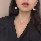 桃心愛心形耳環女氣質韓國簡約耳釘長款吊墜耳飾網紅耳墜R258【免運】
