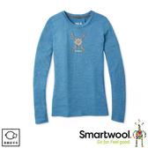 【SmartWool 美國 女 Merino Sport 150 塗鴉長袖T恤《雪花/水霧藍》】SW019248B43/圓領T恤