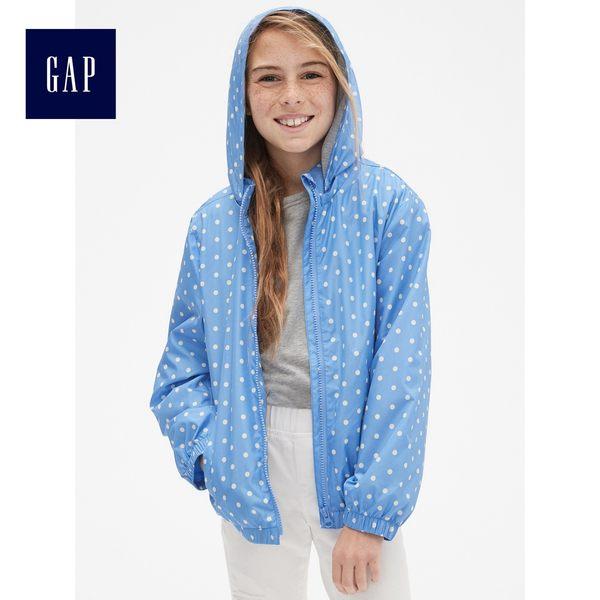 Gap女童 氣質波點防風長袖外套 442137-淺藍色