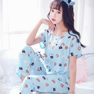 棉綢睡衣女士夏季套裝