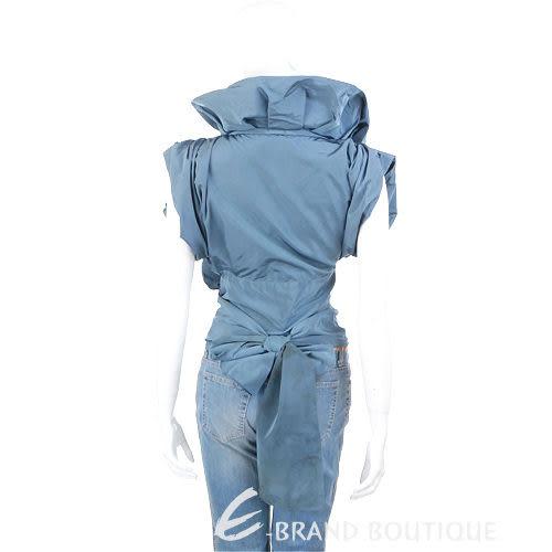KENZO-antonio marras 皺褶花朵飾綁帶上衣(藍灰色) 0520373-23
