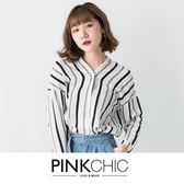 上衣 撞色V領條紋襯衫長袖上衣 - PINK CHIC - 163162