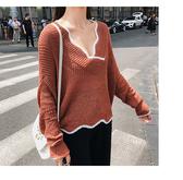 滾邊 V領 鏤空 罩衫 透視 短版 長袖 針織衫【NDF5318】 ENTER