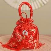 婚禮喜糖袋錦緞刺繡喜糖盒