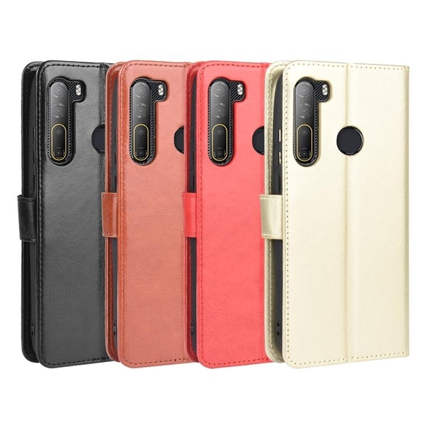 適用于HTC Desire 20 Pro瘋馬紋皮套手機殼插卡防摔保護套翻蓋式