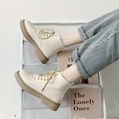 白色馬丁靴女ins網紅瘦瘦靴2021年新款英倫風秋冬單靴平底短靴子 童趣屋  新品
