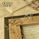 Queen Shop【07030510】金屬正方形造型耳針式耳環 兩色*現+預*
