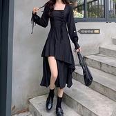 大碼洋裝 大碼胖mm顯瘦遮肉小黑裙設計感不規則開叉氣質收腰減齡連身裙女秋  芊墨左岸 上新