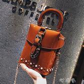 女包復古小方包盒子包時尚鎖扣鉚釘手提包鍊條單肩斜背包 盯目家