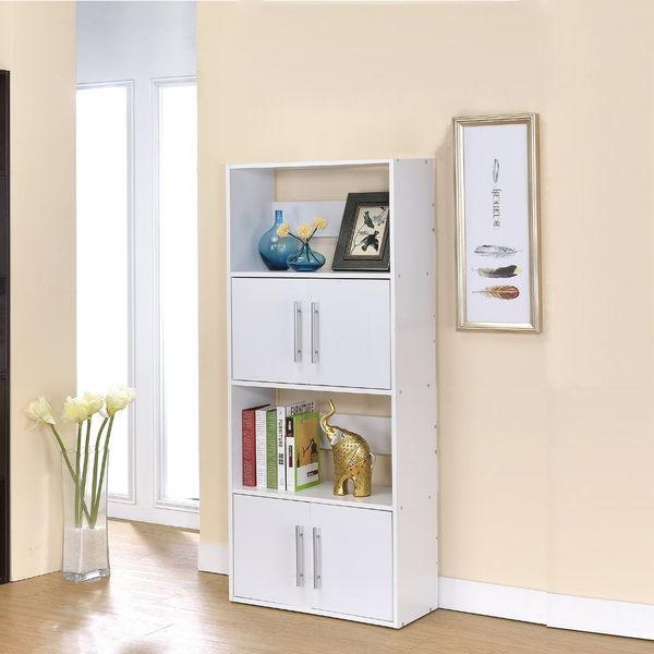 ONE HOUSE-北歐二代四層雙門展示架/隔間櫃/書櫃/書架/高低櫃