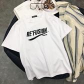 夏季新款純棉白色短袖女T恤個性字母簡約寬鬆上衣韓版百搭bf
