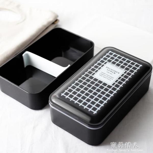 雙層帶蓋便當盒 日式分格壽司盒微波爐餐盒學生飯盒保鮮盒  【新年快樂】