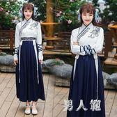 中大尺碼 唐裝古裝改良日常裝漢服女中國風繡花交領長袖學生成人套裝 zm1955『男人範』
