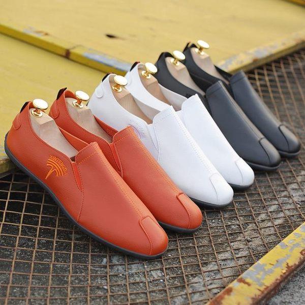 百搭男鞋一腳蹬懶人鞋 休閒鞋豆豆鞋休閒皮鞋正韓潮流英倫春季駕車鞋青年