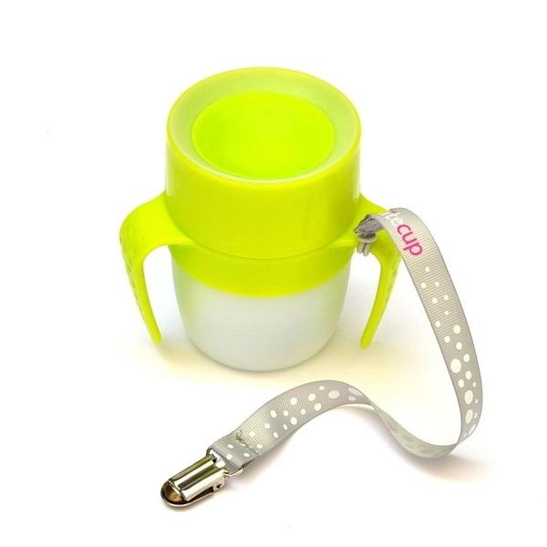 【英國litecup】發光不灑杯 夜光把手學習杯(附防掉鍊) 蘋果綠