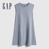 Gap女童 厚磅密織系列雅致純棉無袖洋裝 697683-藍灰色