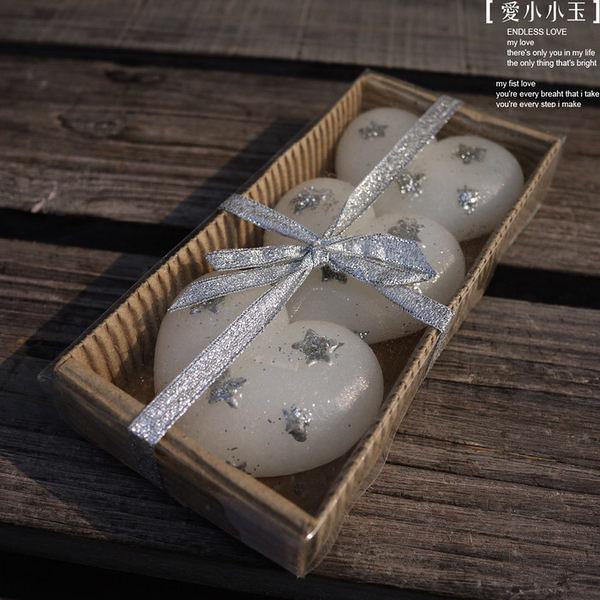 【星空:心形銀星蠟燭】工藝品擺件3個組