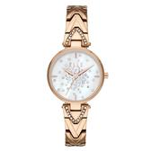 ELLE  巴黎之夜系列貝殼面腕錶-玫瑰金X白