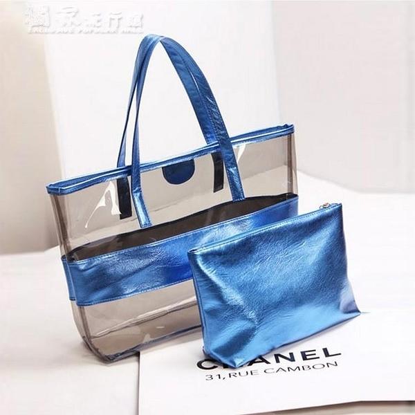 沙灘包21新款韓版透明包包沙灘包塑料糖果凍包大包單肩包女包包1 快速出貨